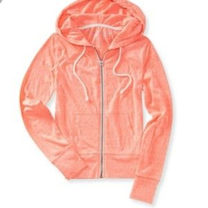 Aeropostale Neon Orange Zip-up Hoodie! Small